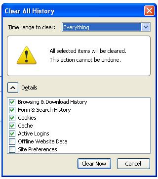 Schermata dell'estensione Clear Console per Firefox