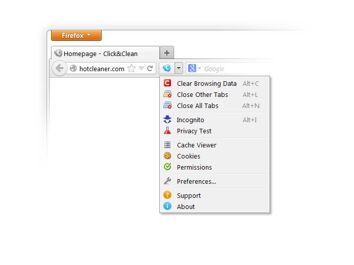 Schermata dell'estensione Click & Clean per Firefox