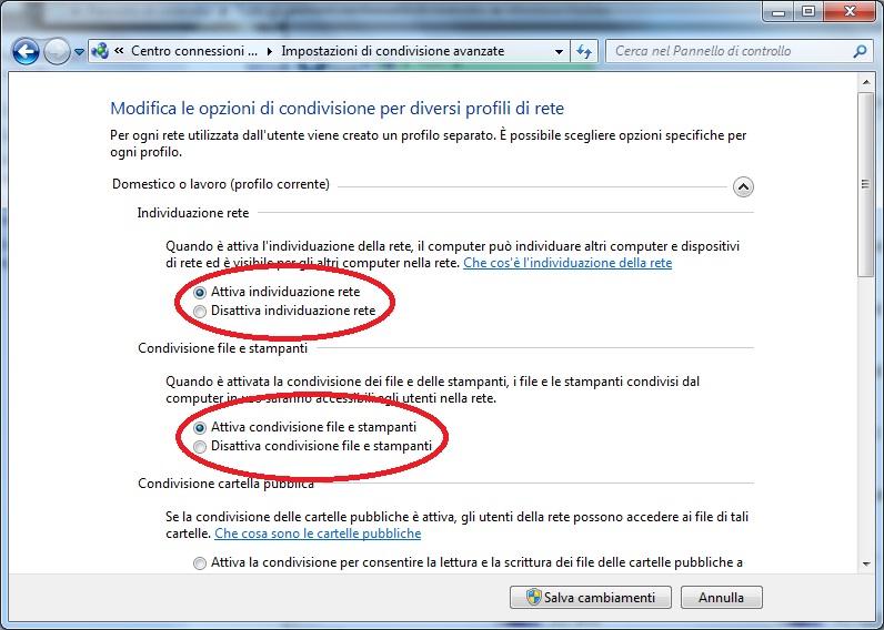 Schermata di Windows per abilitare la condivisione di file e stampanti