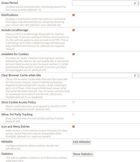Schermata dell'estensione Self-Destructing Cookies per Firefox