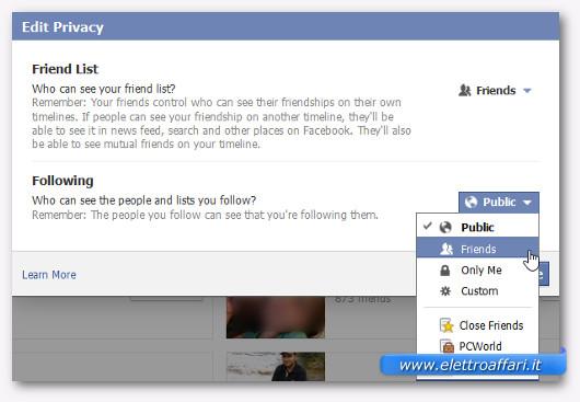 Immagine del pulsante di Facebook per accedere alle opzioni degli amici