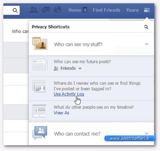 Immagine del registro attività di Facebook