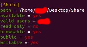 Schermata di configurazione dei permessi della cartella condivisa su Linux