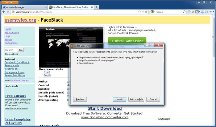 Schermata dell'estensione Stylish per Firefox