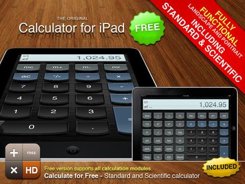 Schermata dell'applicazione Calcolatrice per iPad