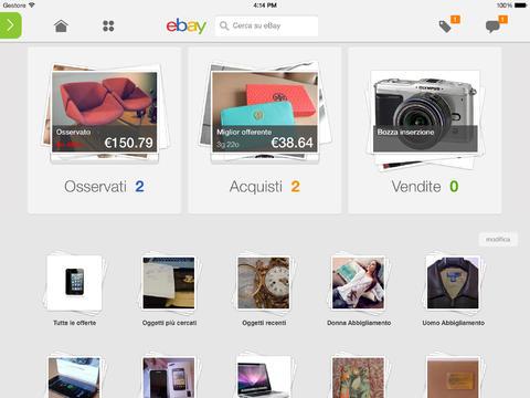 Schermata dell'applicazione eBay per iPad