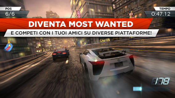 Schermata del gioco Need for Speed Most Wanted per iPad