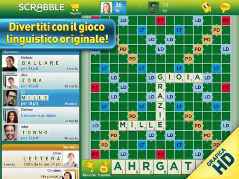 Schermata del gioco Scrabble per iPad
