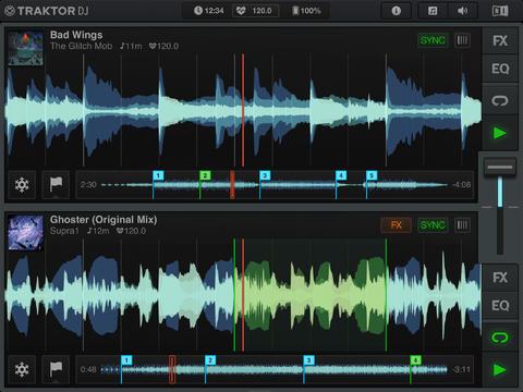 Schermata dell'applicazione Traktor DJ per iPad