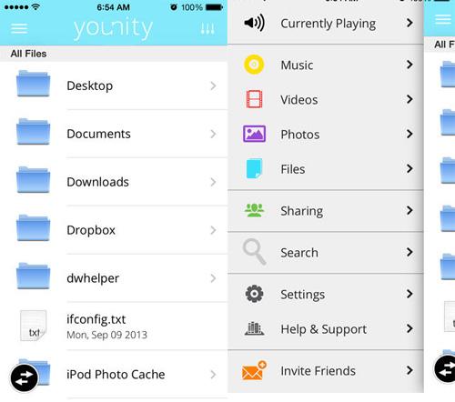 Scermate dell'applicazione Younity su iPhone o iPad
