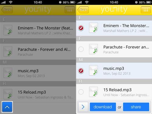 Schermate di Younity per poter scaricare i file da PC Windows o Mac