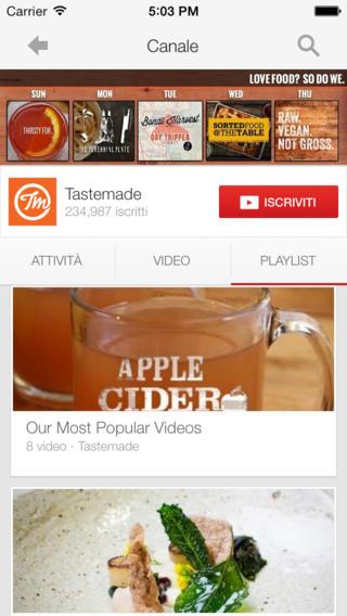 Schermata dell'applicazione YouTube per iPad