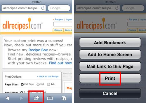Schermata di AirPrint per stampare con dispositivi iOS