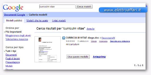 Pagina dei modelli di curriculum vitae su Google