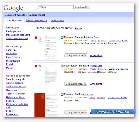 Pagina con l'elenco dei curriculum vitae da compilare online