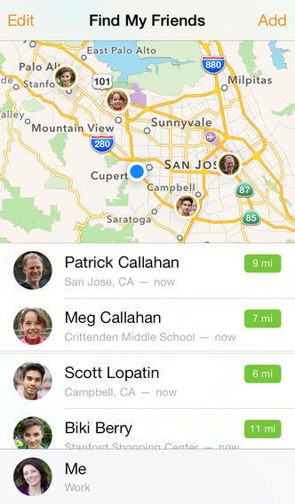 Schermata dell'applicazione Trova i miei amici dell'iPhone