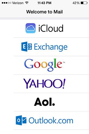 Schermata di Mail per creare un account email sull'iPhone