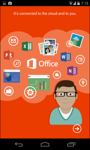 Schermata dell'applicazione Office 365 per Android e iPhone