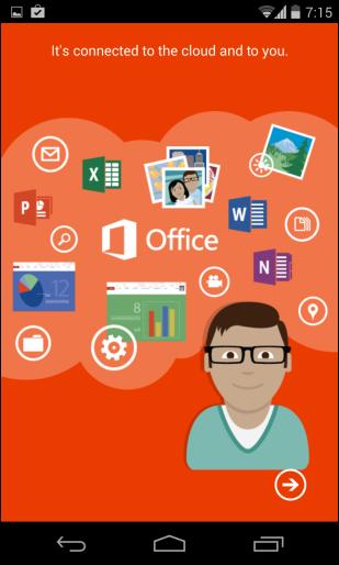 Schermata dell'applicazione Office 365 per Android e iPhone