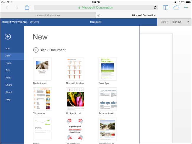 Schermata del sito Office Online per tablet Android e iPad