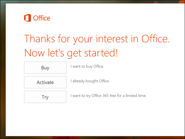 Schermata di Office su tablet Windows 8