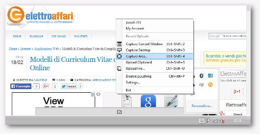 Immagine dell'utilizzo del programma Puush per fare screenshot
