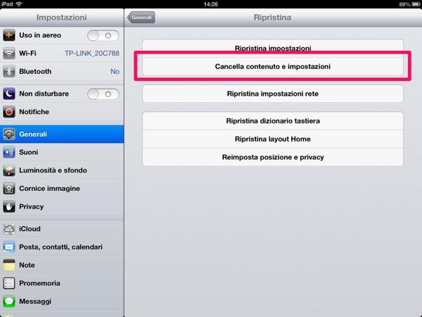 Schermata dell'iPhone per il ripristino del dispositivo