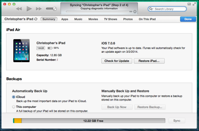 Schermata di iTunes per il ripristino dell'iPhone
