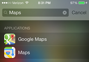 Schermata della ricerca su un iPhone