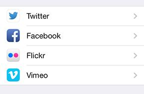 Schermata dei social network sull'iPhone