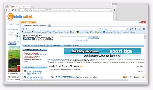 Immagine del sito Extra Torrent