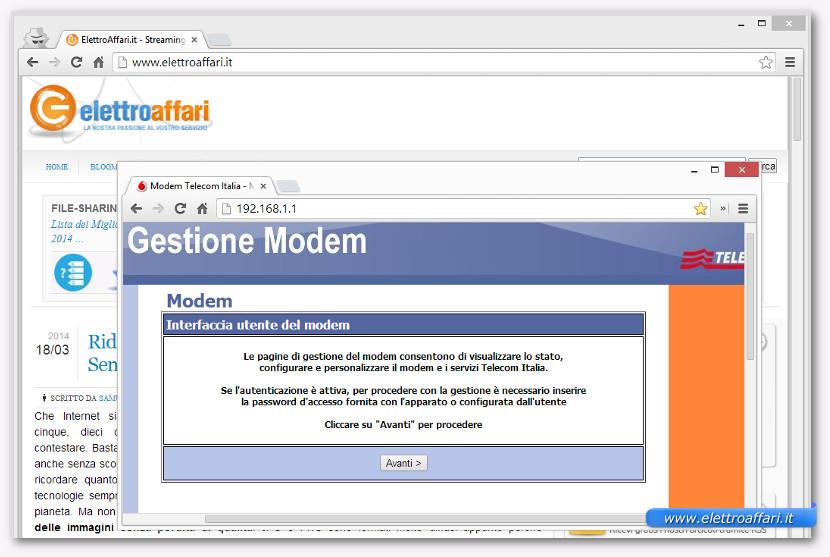 Schermata di accesso del router Alice