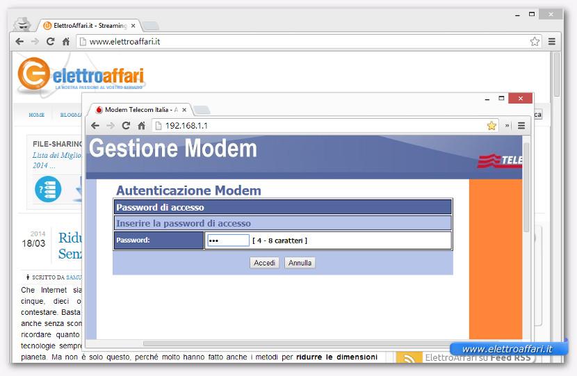 Schermata dell'inserimento della password di un router Alice