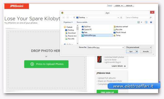 Schermata dell'applicazione online JPEGmini