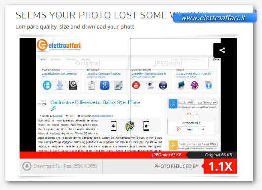Anteprima del sito JPEGmini che mostra la differenze tra le due immagini