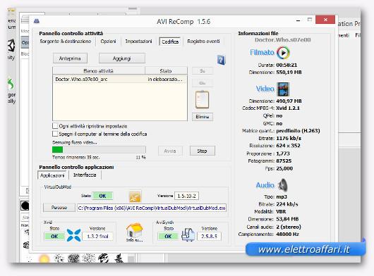 Schermata di avvio della compressione del video AVI
