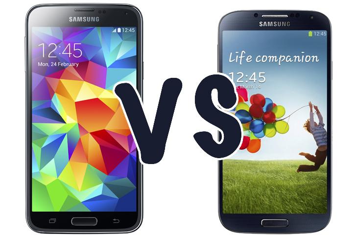 Immagine di confronto tra un Galaxy S5 e un Galaxy S4