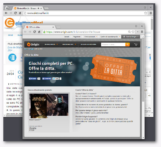 Immagine del sito Origin per scaricare giochi gratis