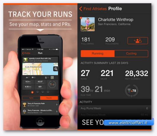 Immagine dell'applicazione Strava Running per iPhone
