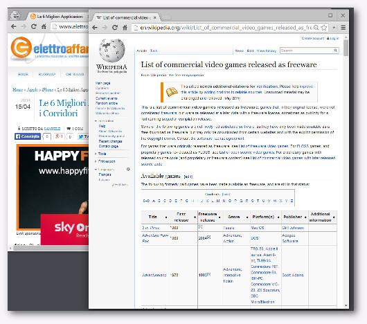 Immagine della pagina di Wikipedia da cui scaricare giochi gratis