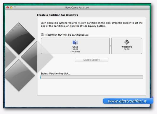 Schermata della creazione della partizione per Windows