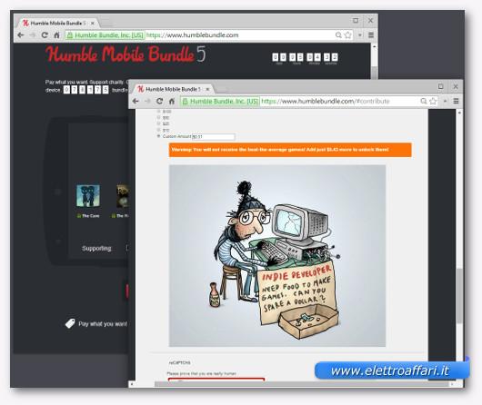 Immagine del sito Humble Bundle per scaricare giochi gratis