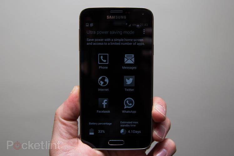 Schermata della modalità di risparmio energetico di un Samsung Galaxy S5