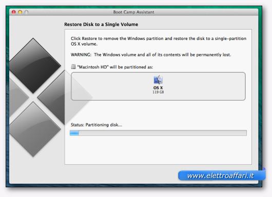 Schermata durante l'eliminazione della partizione di Windows