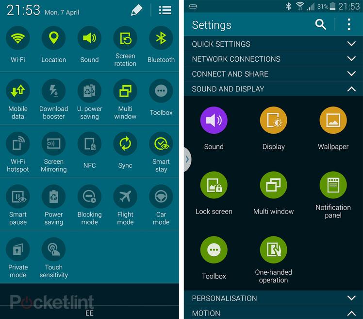 Schermate di alcuni widget del Samsung Galaxy S5