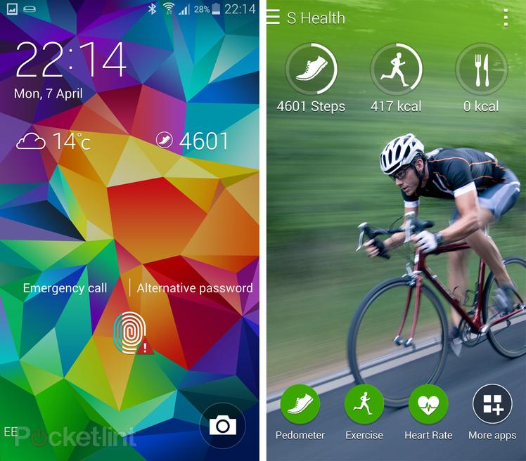 Schermate di applicazioni di sport e salute del Samsung Galaxy S5