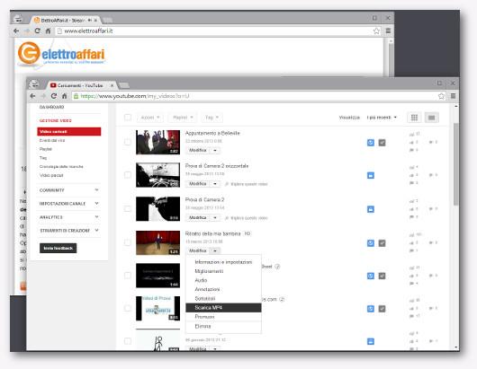 Immagine del menù di YouTube che permette di scaricare un video