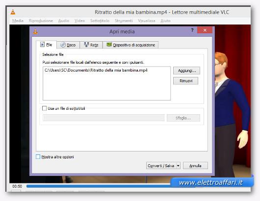 Schermata di VLC per selezionare il file video da cui estrarre l'audio