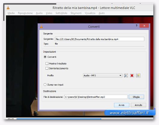 Selezione del formato audio in cui convertire il video
