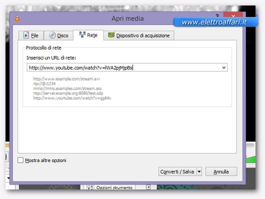 Schermata di VLC per selezionare il video di YouTube